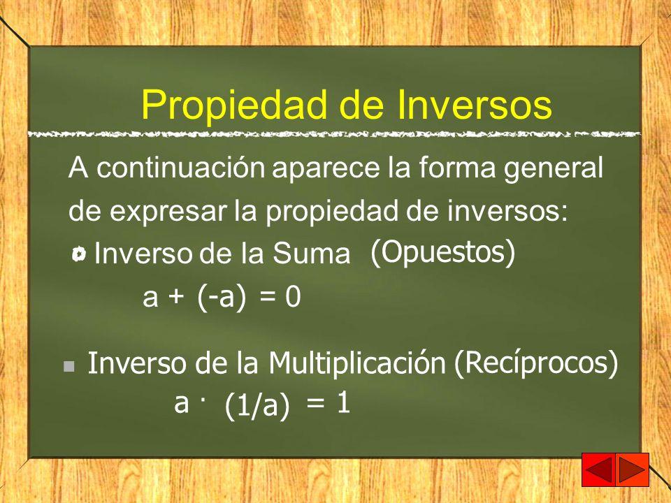 Propiedad de Inversos A continuación aparece la forma general de expresar la propiedad de inversos: Inverso de la Suma a + = 0 (-a) (Opuestos) (1/a) (