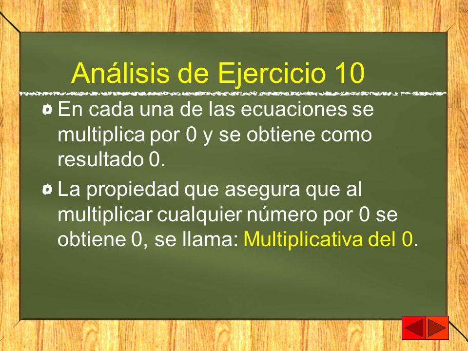 Análisis de Ejercicio 10 En cada una de las ecuaciones se multiplica por 0 y se obtiene como resultado 0. La propiedad que asegura que al multiplicar