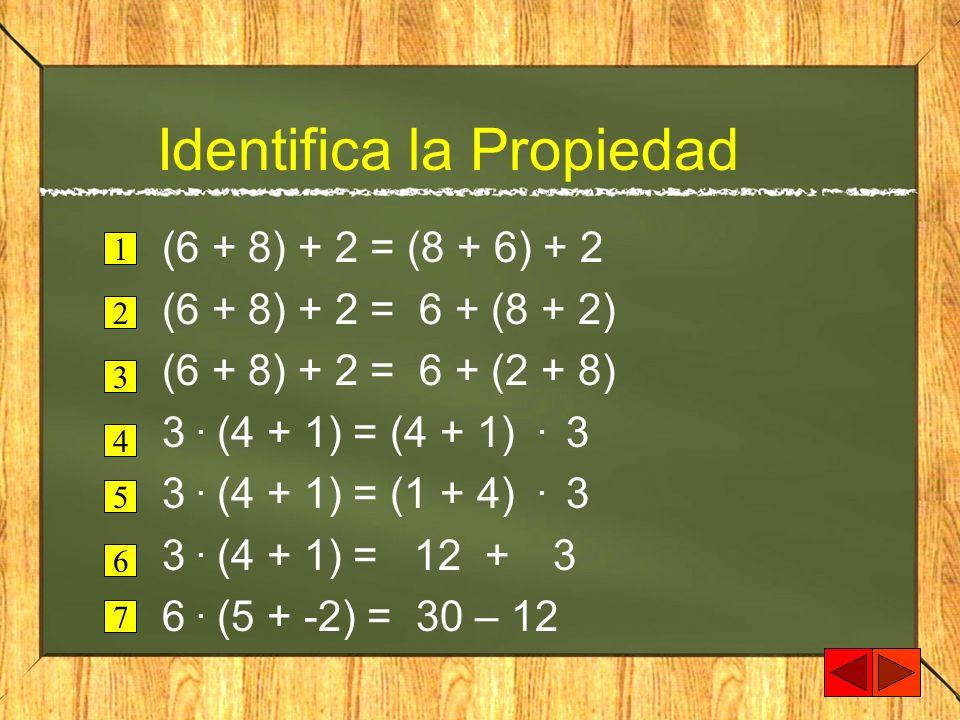 Identifica la Propiedad (6 + 8) + 2 = (8 + 6) + 2 (6 + 8) + 2 = 6 + (8 + 2) (6 + 8) + 2 = 6 + (2 + 8) 3. (4 + 1) = (4 + 1). 3 3. (4 + 1) = (1 + 4). 3