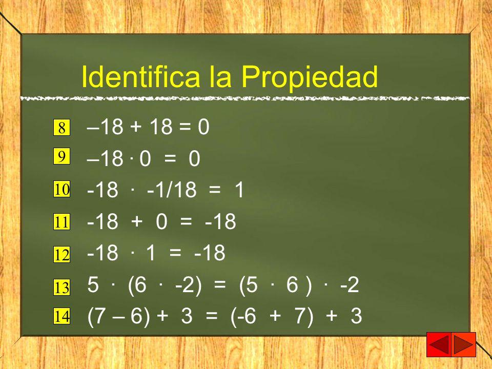 Identifica la Propiedad –18 + 18 = 0 –18. 0 = 0 -18. -1/18 = 1 -18 + 0 = -18 -18. 1 = -18 5. (6. -2) = (5. 6 ). -2 (7 – 6) + 3 = (-6 + 7) + 3 8 9 10 1
