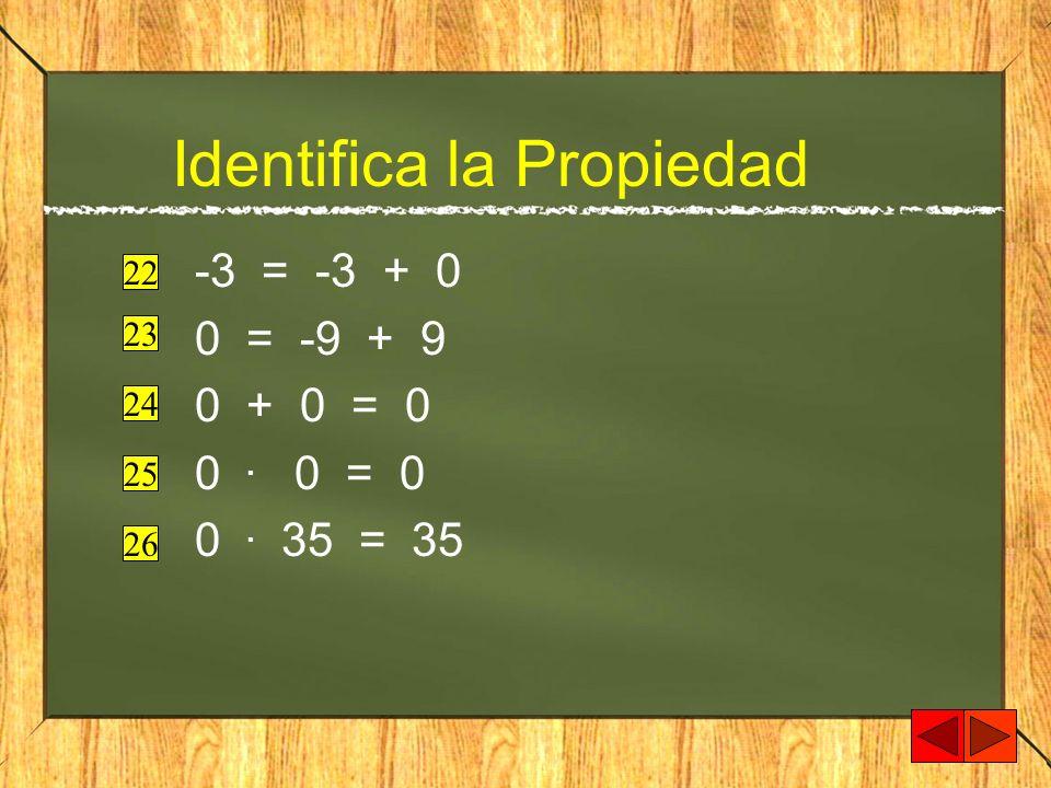 Identifica la Propiedad -3 = -3 + 0 0 = -9 + 9 0 + 0 = 0 0. 0 = 0 0. 35 = 35 22 23 24 25 26
