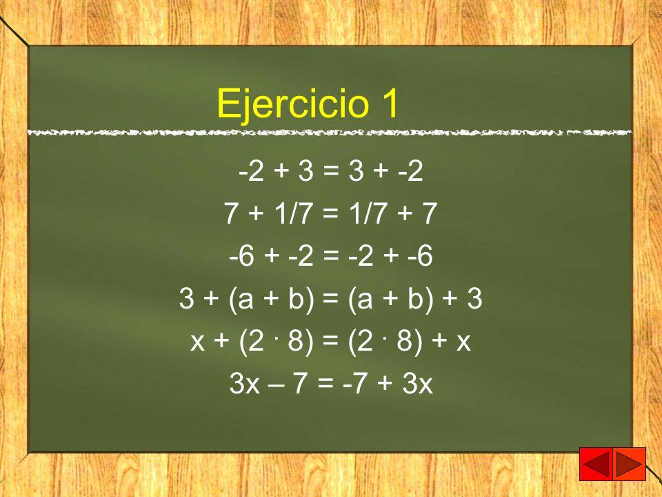 Ejercicio 1 -2 + 3 = 3 + -2 7 + 1/7 = 1/7 + 7 -6 + -2 = -2 + -6 3 + (a + b) = (a + b) + 3 x + (2. 8) = (2. 8) + x 3x – 7 = -7 + 3x