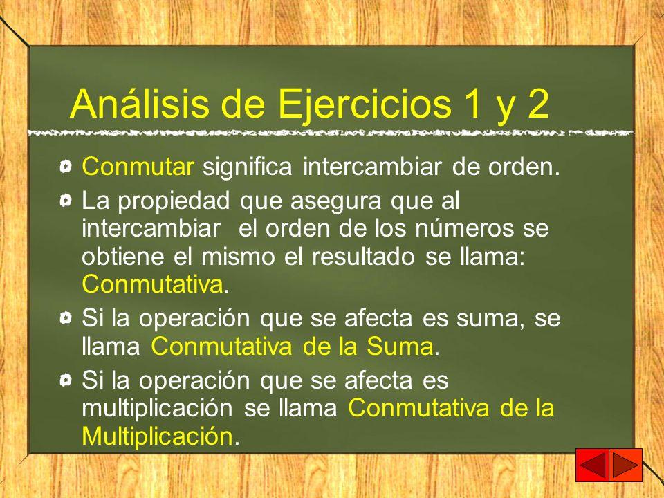 Análisis de Ejercicios 1 y 2 Conmutar significa intercambiar de orden. La propiedad que asegura que al intercambiar el orden de los números se obtiene