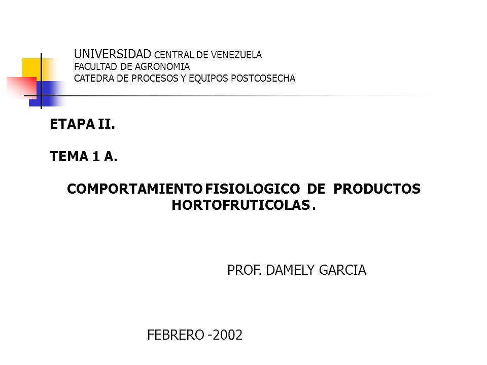 UNIVERSIDAD CENTRAL DE VENEZUELA FACULTAD DE AGRONOMIA CATEDRA DE PROCESOS Y EQUIPOS POSTCOSECHA ETAPA II. TEMA 1 A. COMPORTAMIENTO FISIOLOGICO DE PRO