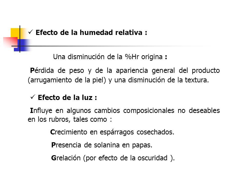 Efecto de la humedad relativa : Una disminución de la %Hr origina : Pérdida de peso y de la apariencia general del producto (arrugamiento de la piel)