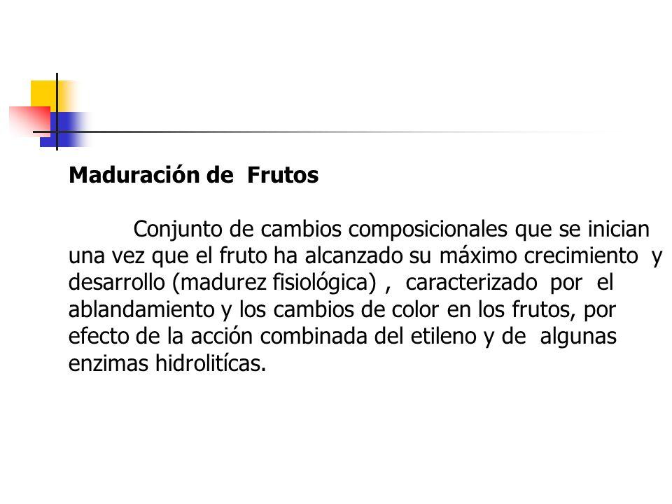 Maduración de Frutos Conjunto de cambios composicionales que se inician una vez que el fruto ha alcanzado su máximo crecimiento y desarrollo (madurez
