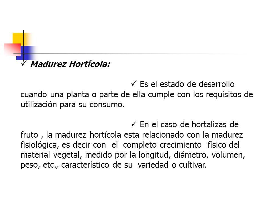 Madurez Hortícola: Es el estado de desarrollo cuando una planta o parte de ella cumple con los requisitos de utilización para su consumo. En el caso d