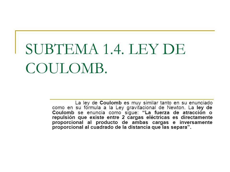 SUBTEMA 1.4. LEY DE COULOMB. La ley de Coulomb es muy similar tanto en su enunciado como en su fórmula a la Ley gravitacional de Newton. La ley de Cou
