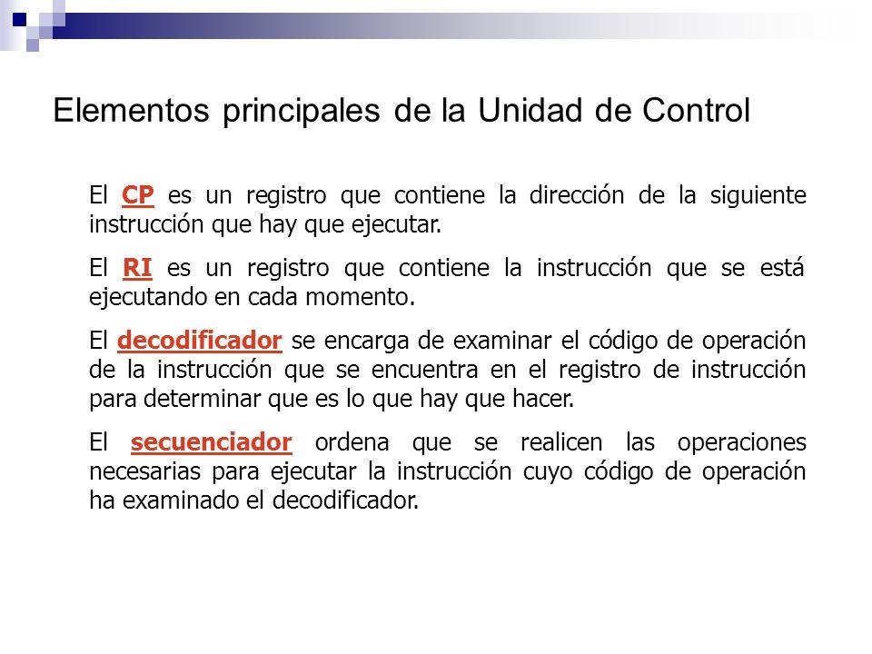 Elementos principales de la Unidad de Control El CP es un registro que contiene la dirección de la siguiente instrucción que hay que ejecutar. El RI e