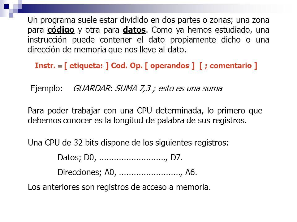 Un programa suele estar dividido en dos partes o zonas; una zona para código y otra para datos. Como ya hemos estudiado, una instrucción puede contene