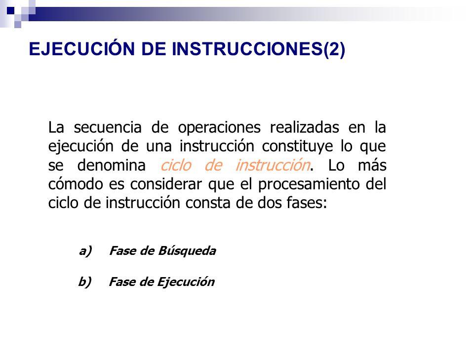 EJECUCIÓN DE INSTRUCCIONES(2) La secuencia de operaciones realizadas en la ejecución de una instrucción constituye lo que se denomina ciclo de instruc