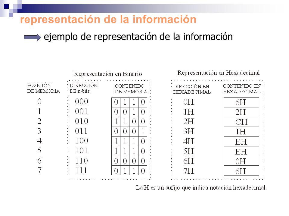 ejemplo de representación de la información representación de la información