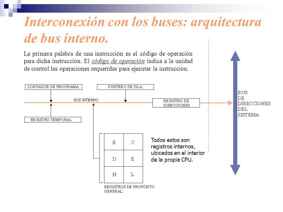 Interconexión con los buses: arquitectura de bus interno. La primera palabra de una instrucción es el código de operación para dicha instrucción. El c