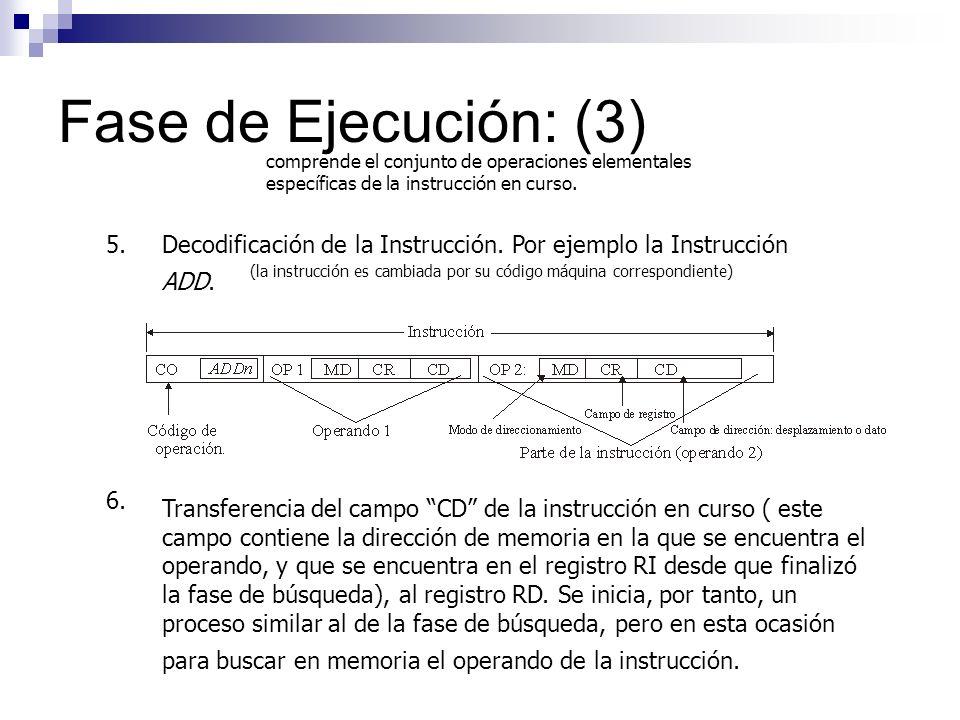 Fase de Ejecución: (3) comprende el conjunto de operaciones elementales específicas de la instrucción en curso. 5.Decodificación de la Instrucción. Po