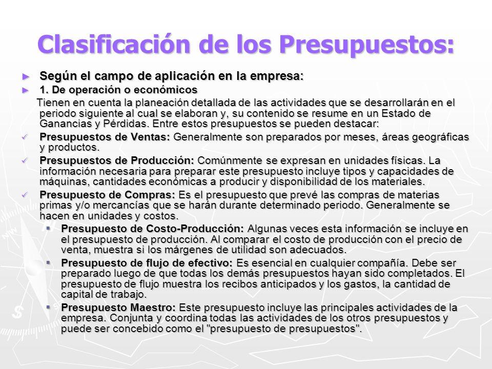 Clasificación de los Presupuestos: Según el campo de aplicación en la empresa: Según el campo de aplicación en la empresa: 1. De operación o económico