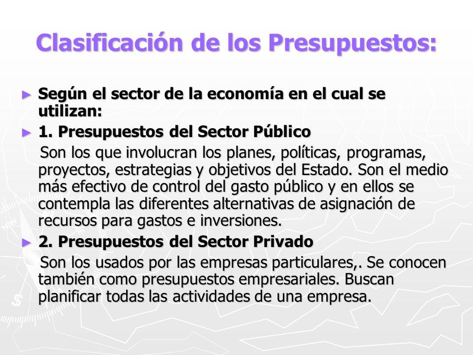 Clasificación de los Presupuestos: Según el sector de la economía en el cual se utilizan: Según el sector de la economía en el cual se utilizan: 1. Pr