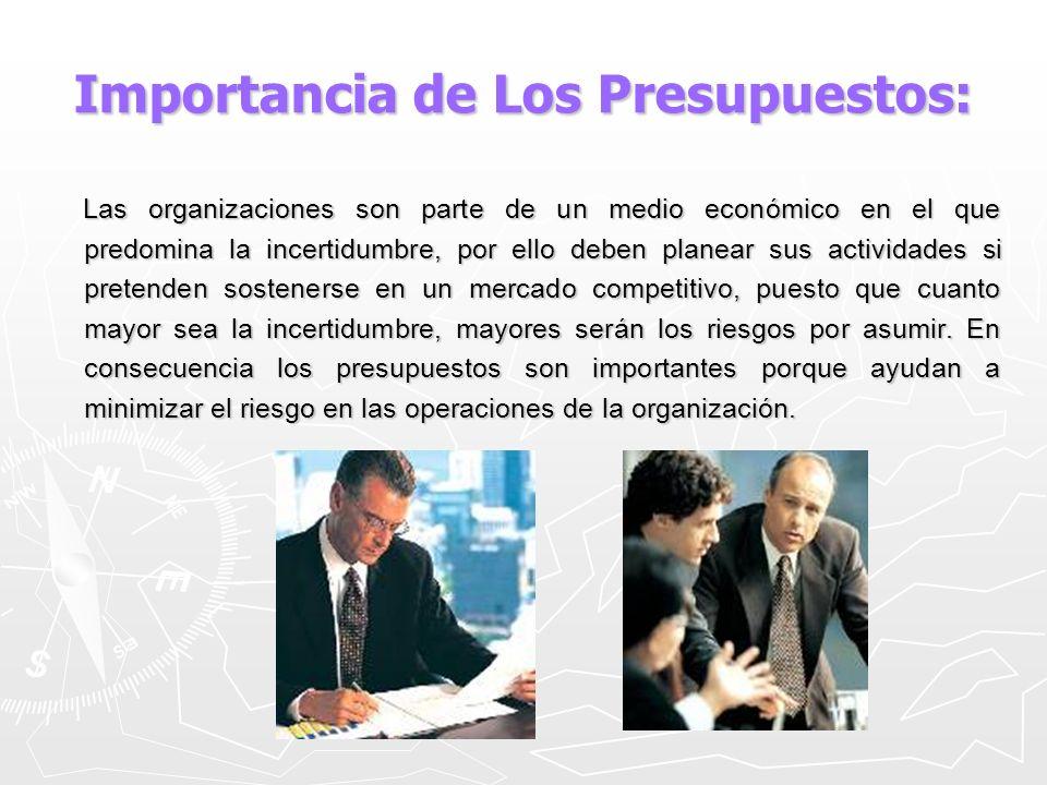 Importancia de Los Presupuestos: Las organizaciones son parte de un medio económico en el que predomina la incertidumbre, por ello deben planear sus a