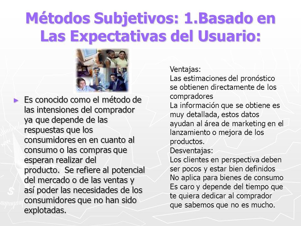 Métodos Subjetivos: 1.Basado en Las Expectativas del Usuario: Es conocido como el método de las intensiones del comprador ya que depende de las respue