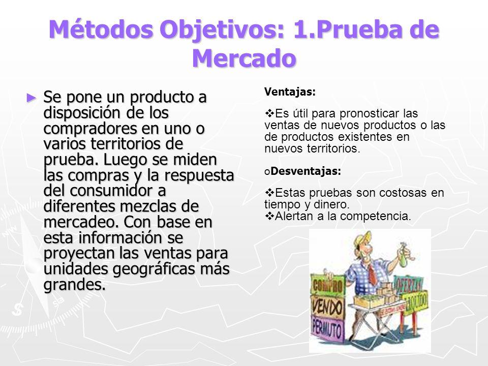 Métodos Objetivos: 1.Prueba de Mercado Se pone un producto a disposición de los compradores en uno o varios territorios de prueba. Luego se miden las