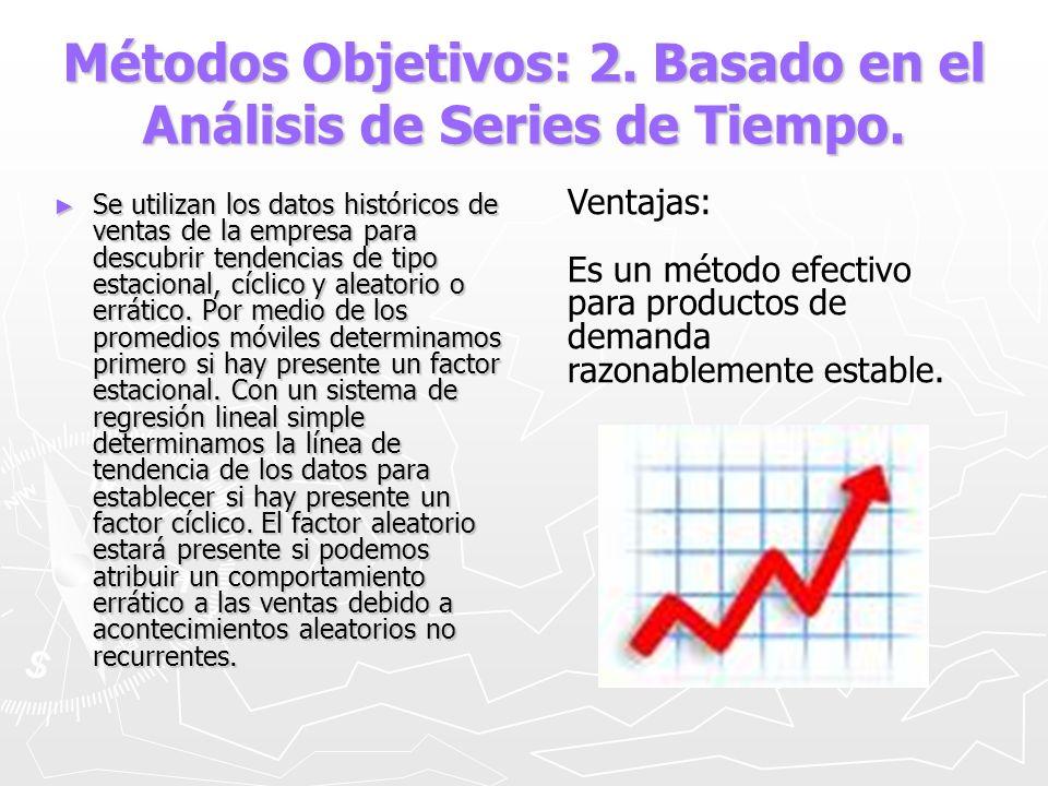 Métodos Objetivos: 2. Basado en el Análisis de Series de Tiempo. Se utilizan los datos históricos de ventas de la empresa para descubrir tendencias de
