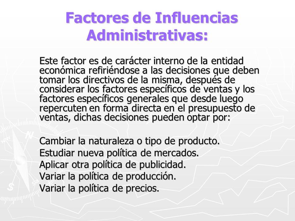 Factores de Influencias Administrativas: Factores de Influencias Administrativas: Este factor es de carácter interno de la entidad económica refiriénd