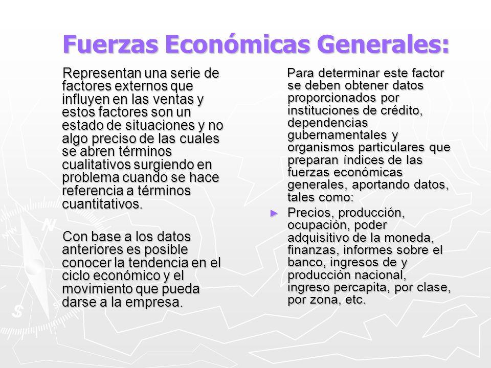 Fuerzas Económicas Generales: Fuerzas Económicas Generales: Representan una serie de factores externos que influyen en las ventas y estos factores son