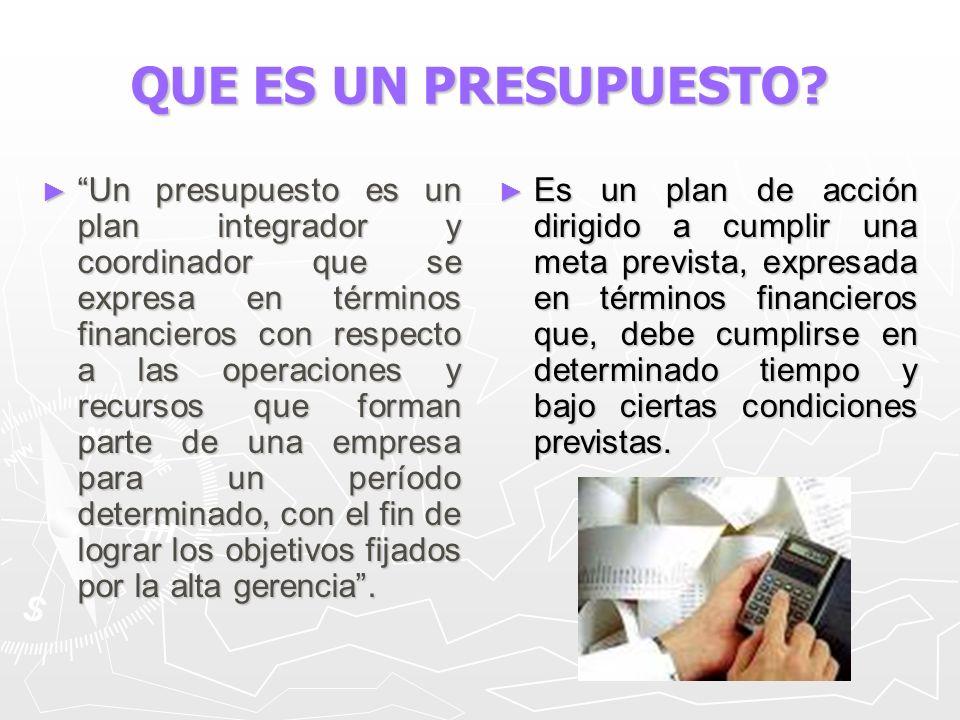 QUE ES UN PRESUPUESTO? Un presupuesto es un plan integrador y coordinador que se expresa en términos financieros con respecto a las operaciones y recu