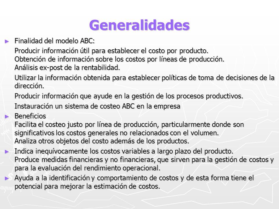 Generalidades Finalidad del modelo ABC: Finalidad del modelo ABC: Producir información útil para establecer el costo por producto. Obtención de inform