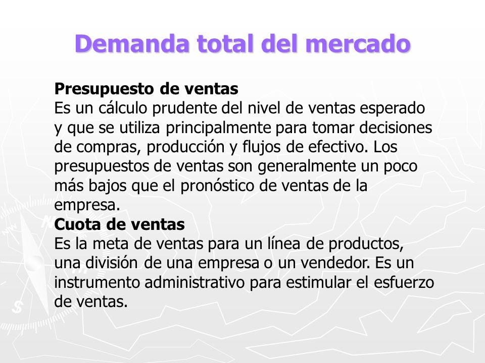 Demanda total del mercado Presupuesto de ventas Es un cálculo prudente del nivel de ventas esperado y que se utiliza principalmente para tomar decisio