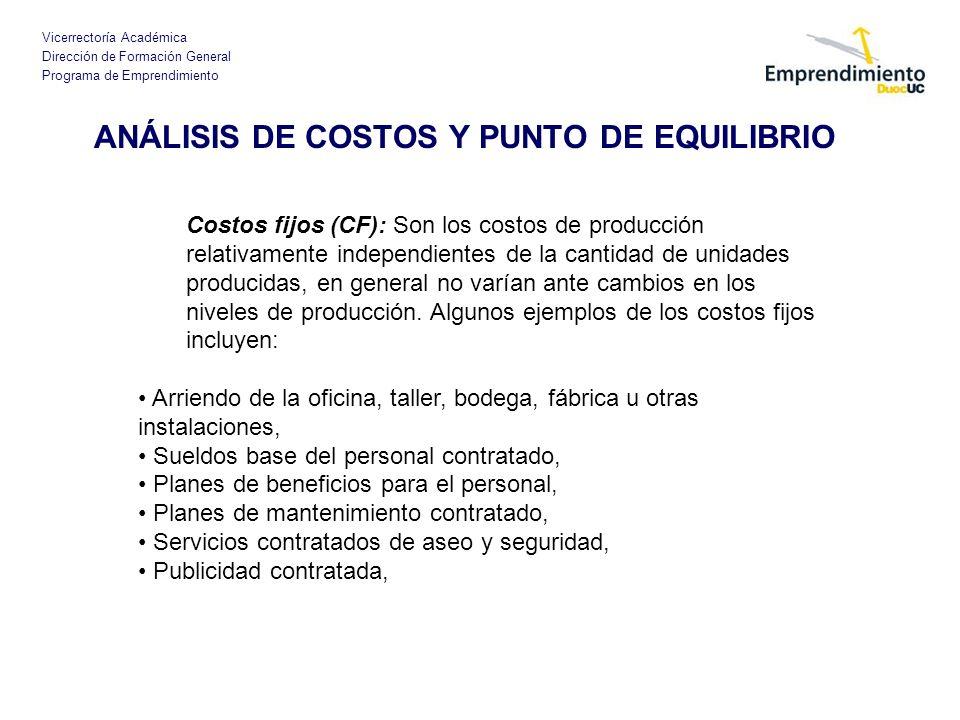 Vicerrectoría Académica Dirección de Formación General Programa de Emprendimiento ANÁLISIS DE COSTOS Y PUNTO DE EQUILIBRIO Costos fijos (CF): Son los