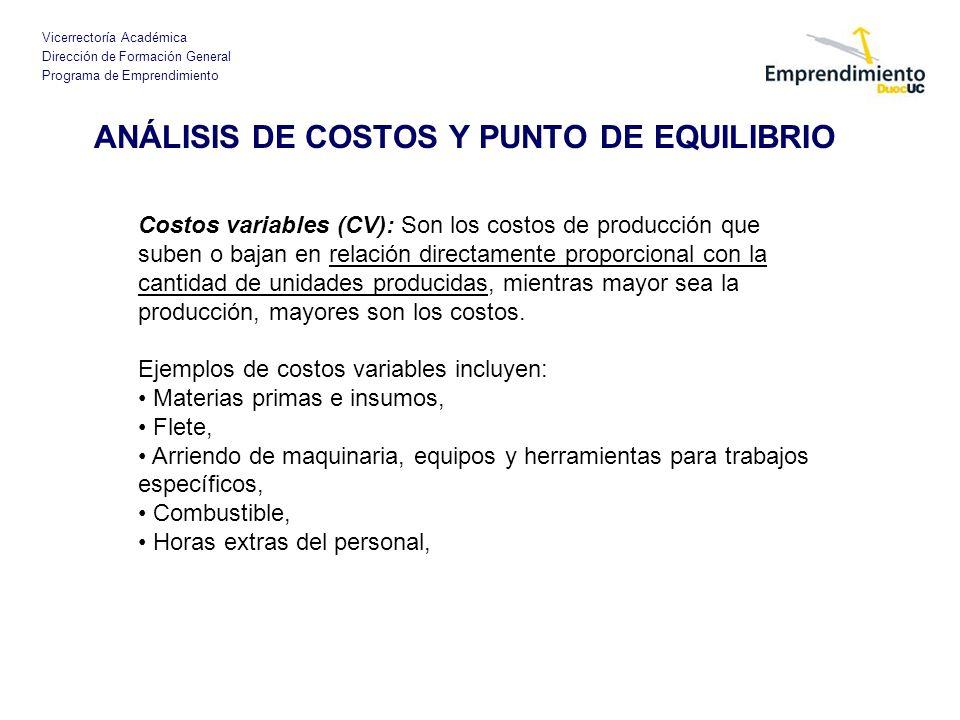 Vicerrectoría Académica Dirección de Formación General Programa de Emprendimiento ANÁLISIS DE COSTOS Y PUNTO DE EQUILIBRIO Costos variables (CV): Son