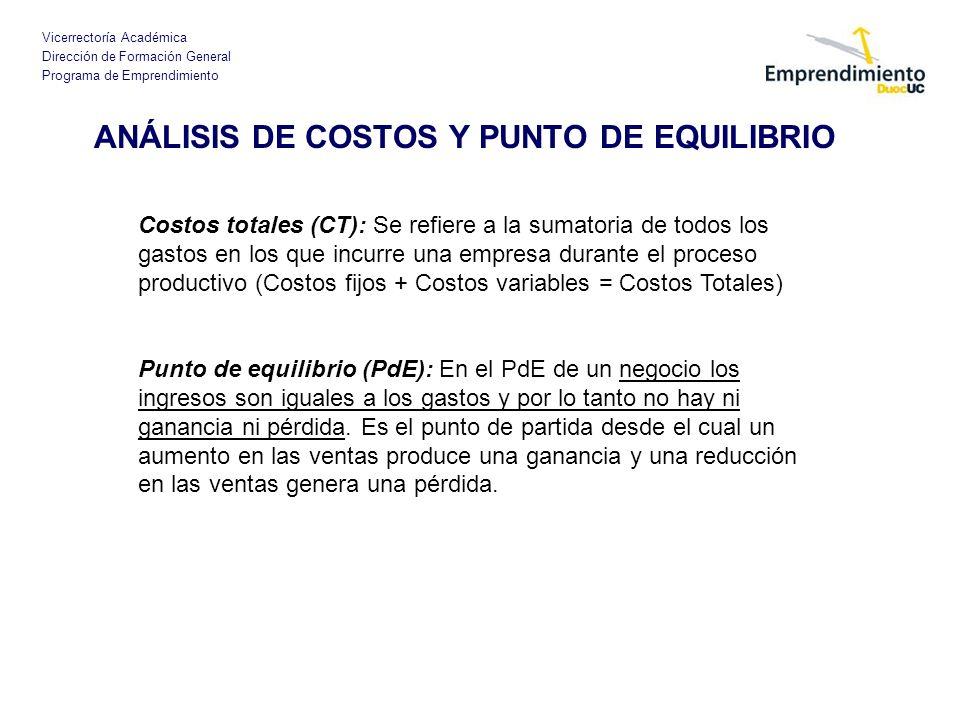 Vicerrectoría Académica Dirección de Formación General Programa de Emprendimiento ANÁLISIS DE COSTOS Y PUNTO DE EQUILIBRIO Costos totales (CT): Se ref