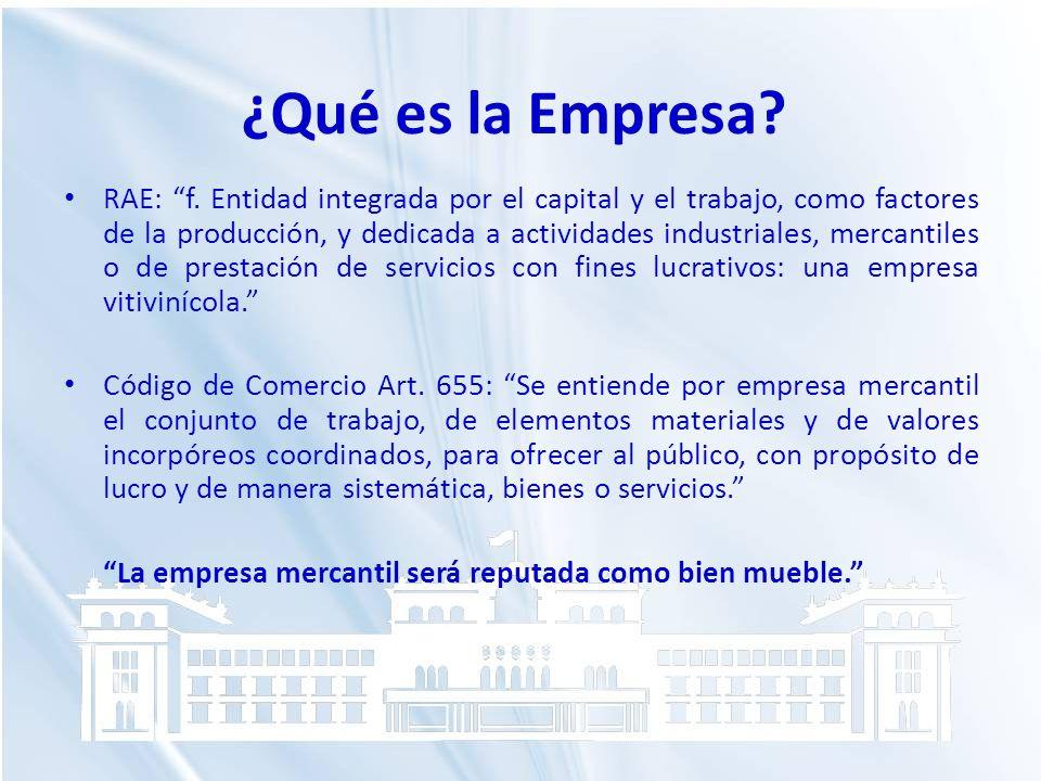 ¿Qué es la Empresa? RAE: f. Entidad integrada por el capital y el trabajo, como factores de la producción, y dedicada a actividades industriales, merc