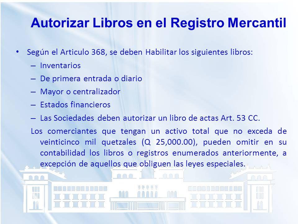 Según el Articulo 368, se deben Habilitar los siguientes libros: – Inventarios – De primera entrada o diario – Mayor o centralizador – Estados financi