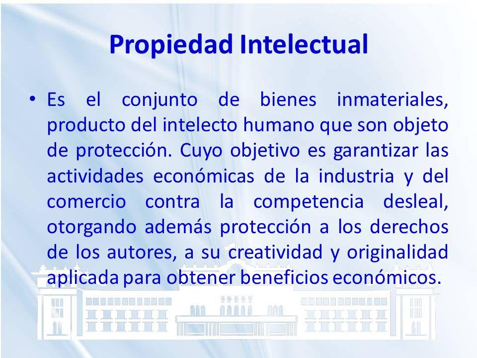 Propiedad Intelectual Es el conjunto de bienes inmateriales, producto del intelecto humano que son objeto de protección. Cuyo objetivo es garantizar l