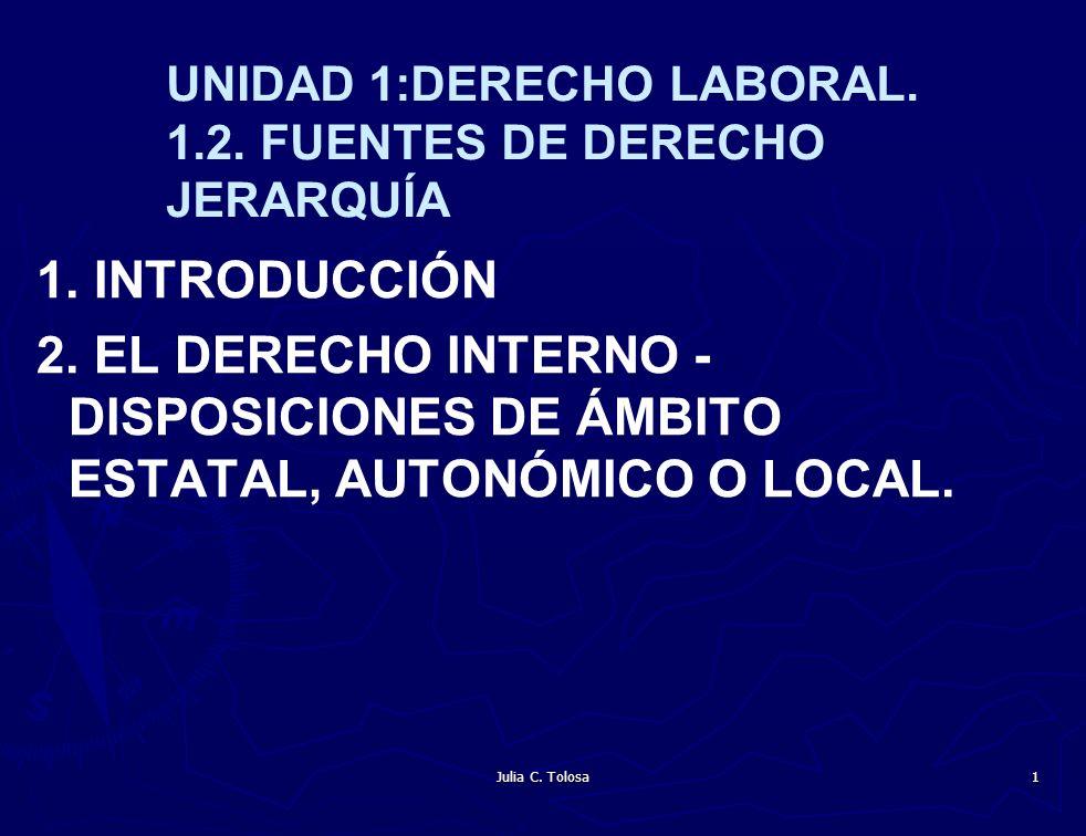 Julia C. Tolosa 1 UNIDAD 1:DERECHO LABORAL. 1.2. FUENTES DE DERECHO JERARQUÍA 1. INTRODUCCIÓN 2. EL DERECHO INTERNO - DISPOSICIONES DE ÁMBITO ESTATAL,