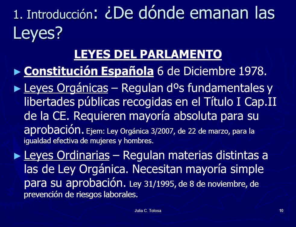Julia C. Tolosa10 1. Introducción : ¿De dónde emanan las Leyes? LEYES DEL PARLAMENTO Constitución Española 6 de Diciembre 1978. Leyes Orgánicas – Regu