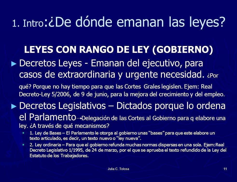 Julia C. Tolosa11 1. Intro :¿De dónde emanan las leyes? LEYES CON RANGO DE LEY (GOBIERNO) Decretos Leyes - Emanan del ejecutivo, para casos de extraor