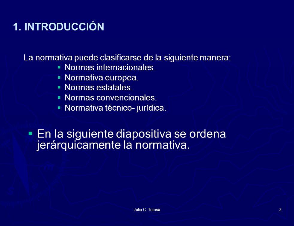 Julia C. Tolosa2 1. INTRODUCCIÓN La normativa puede clasificarse de la siguiente manera: Normas internacionales. Normativa europea. Normas estatales.