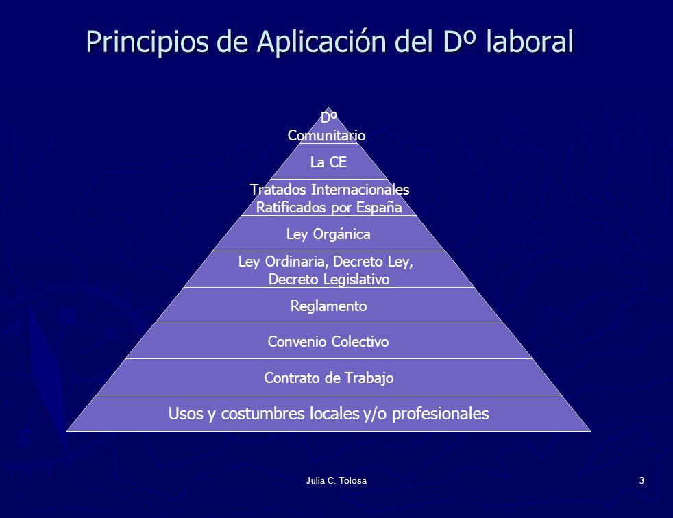 Julia C. Tolosa3 Principios de Aplicación del Dº laboral Dº Comunitario La CE Ley Orgánica Tratados Internacionales Ratificados por España Ley Ordinar