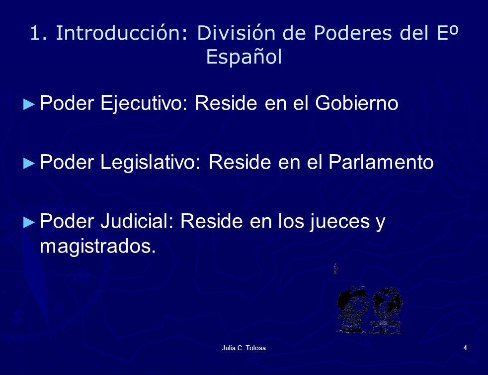 Julia C. Tolosa4 1. Introducción: División de Poderes del Eº Español Poder Ejecutivo: Reside en el Gobierno Poder Legislativo: Reside en el Parlamento