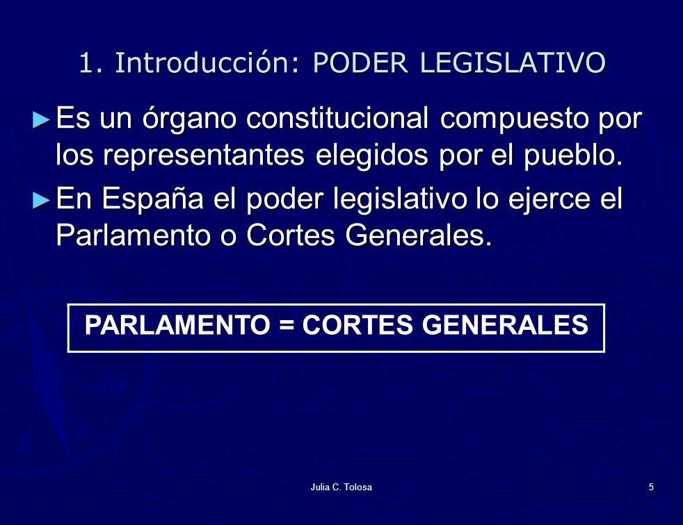 Julia C. Tolosa5 1. Introducción: PODER LEGISLATIVO Es un órgano constitucional compuesto por los representantes elegidos por el pueblo. Es un órgano