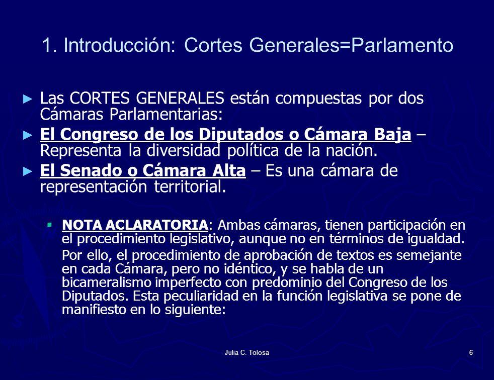 Julia C. Tolosa6 1. Introducción: Cortes Generales=Parlamento Las CORTES GENERALES están compuestas por dos Cámaras Parlamentarias: El Congreso de los