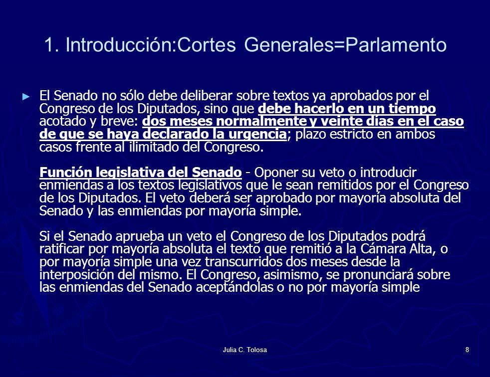 Julia C. Tolosa8 1. Introducción:Cortes Generales=Parlamento El Senado no sólo debe deliberar sobre textos ya aprobados por el Congreso de los Diputad