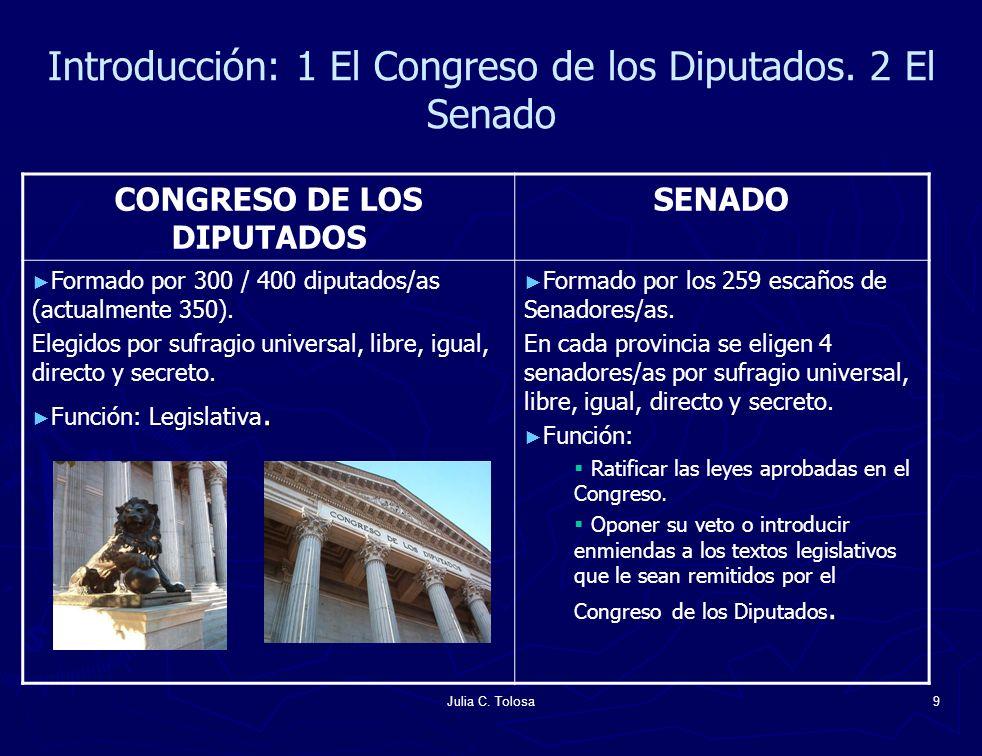 Julia C. Tolosa9 Introducción: 1 El Congreso de los Diputados. 2 El Senado CONGRESO DE LOS DIPUTADOS SENADO Formado por 300 / 400 diputados/as (actual