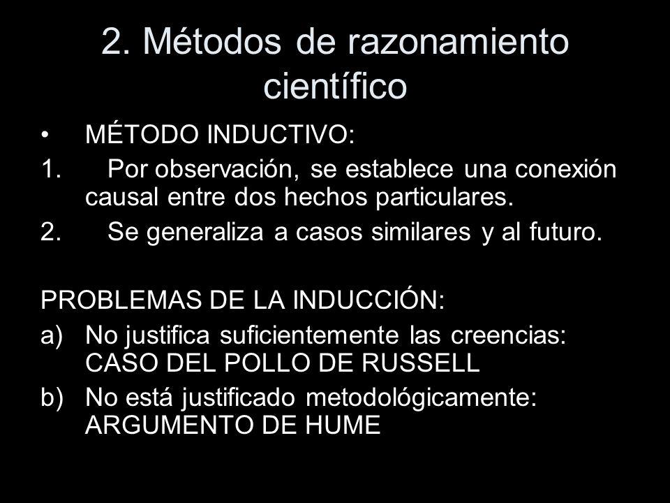2. Métodos de razonamiento científico MÉTODO INDUCTIVO: 1.Por observación, se establece una conexión causal entre dos hechos particulares. 2.Se genera