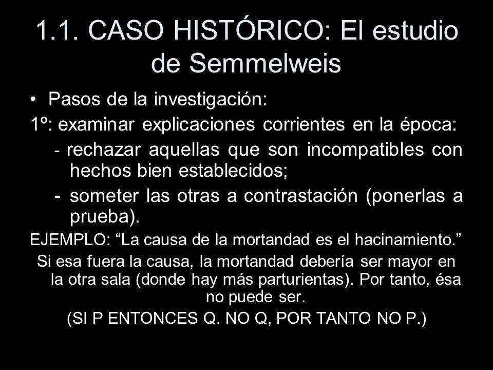 1.1. CASO HISTÓRICO: El estudio de Semmelweis Pasos de la investigación: 1º: examinar explicaciones corrientes en la época: - rechazar aquellas que so