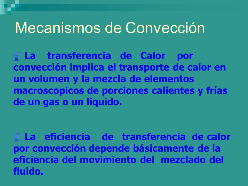 Mecanismos de Convección 4 La transferencia de Calor por convección implica el transporte de calor en un volumen y la mezcla de elementos macroscopico