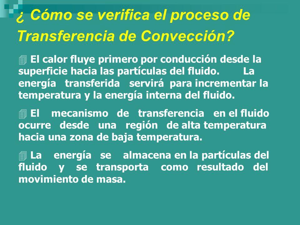 ¿ Cómo se verifica el proceso de Transferencia de Convección? 4 El calor fluye primero por conducción desde la superficie hacia las partículas del flu