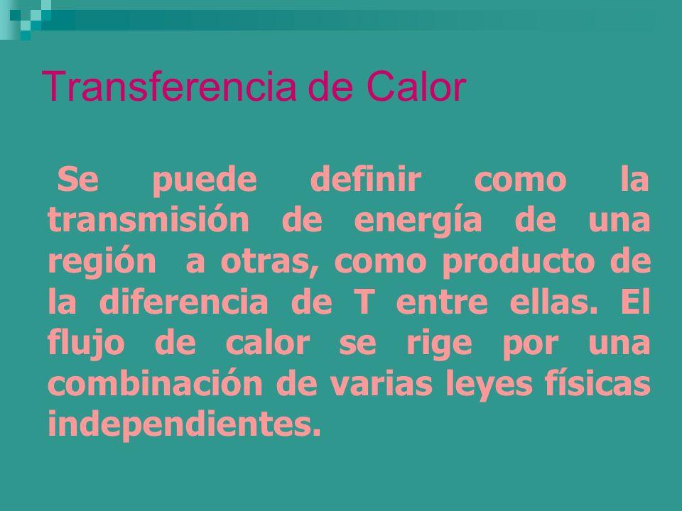 Transferencia de Calor Se puede definir como la transmisión de energía de una región a otras, como producto de la diferencia de T entre ellas. El fluj